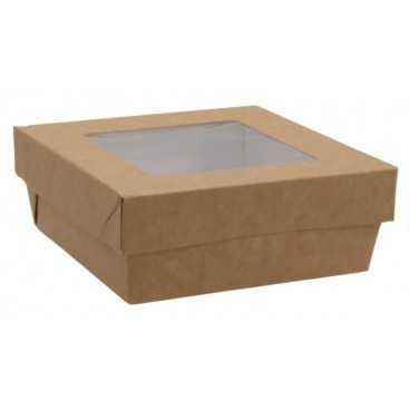 1400CSB Caserole din carton + capac cu fereastra, 135 x 135 x 50 mm, kraft natur + alb