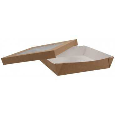 1400CSB Caserole din carton + capac cu fereastra, 210 x 210 x 40 mm, kraft natur + alb