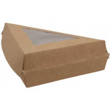 1400CA Triunghi din carton cu fereastra, 1/8 din Ø 300 mm, kraft natur + alb