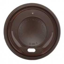 #COF-0200CRT-Z01 Capace din PS, maro cu orificiu pentru bauturi calde, Ø 80 mm