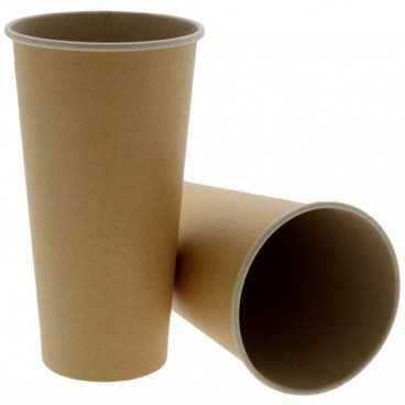 Pahare din carton cu perete simplu, Ø 90 mm, 20oz, kraft natur