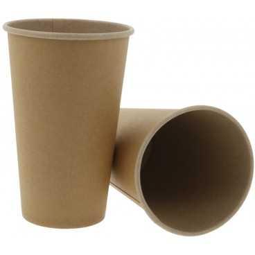 Pahare din carton cu perete simplu, Ø 90 mm, 16oz, kraft natur