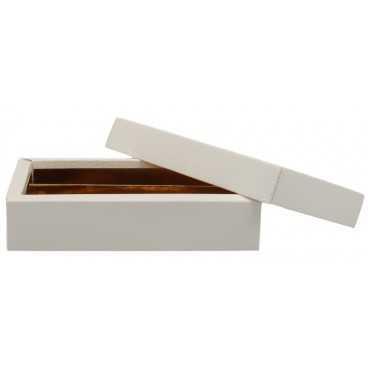 3700CSB Cutie din carton cu capac separat pentru bomboane, piele alba, 145 x 75 x 35 mm
