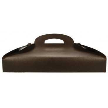 3600CM Cutie din carton cu maner pentru prajituri, piele maro, 390 x 280 x 60 mm