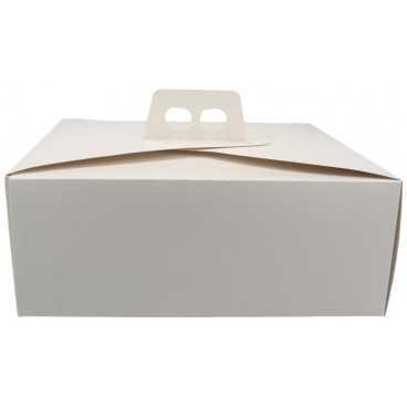 3600CMD Cutie din carton cu maner pentru tort, 310 x 310 x 120 mm, piele alba