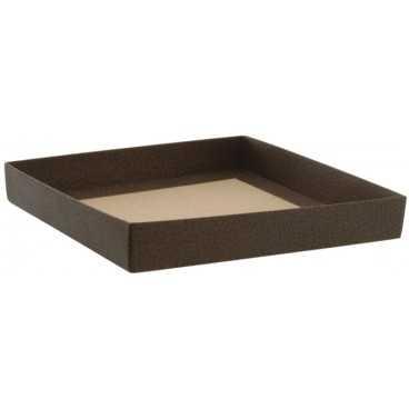 3700CSB Cutie din carton cu capac separat pentru bomboane, piele maro, 145 x 145 x 35 mm